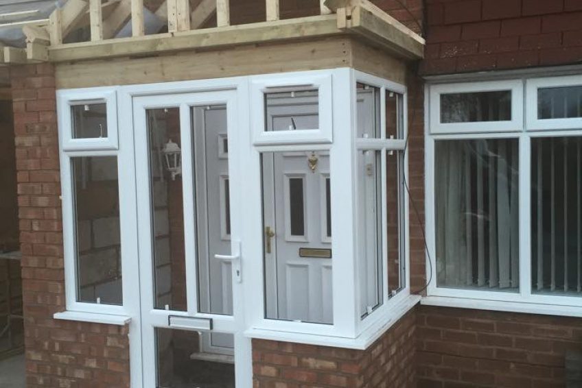 House Extension Building Specialists Walsall, Wednesbury - windows and doors all in place